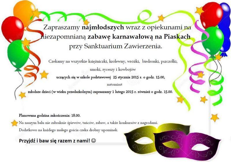 Bal Karnawałowy Dla Dzieci Sanktuarium Zawierzenia